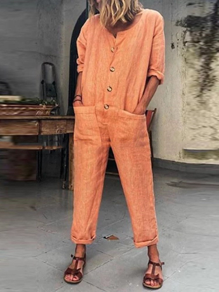 Plain Casual Button Harem Pants Low Waist Jumpsuit