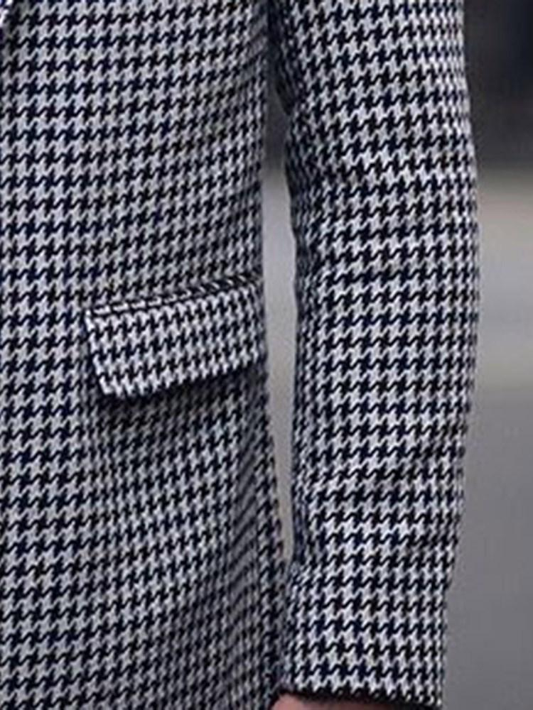 Button Notched Lapel Houndstooth Loose Single Trench Coat