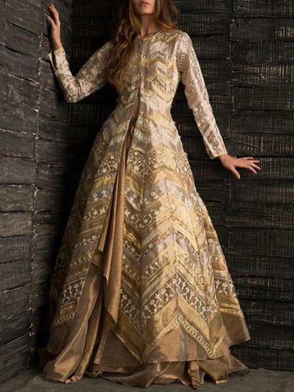 Print Long Sleeve Floor-Length A-Line Elegant Dress