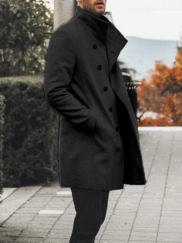 Pocket Mid-Length Plain Straight Winter Coat
