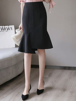 Asymmetrical Knee-Length Plain Office Lady High Waist Skirt