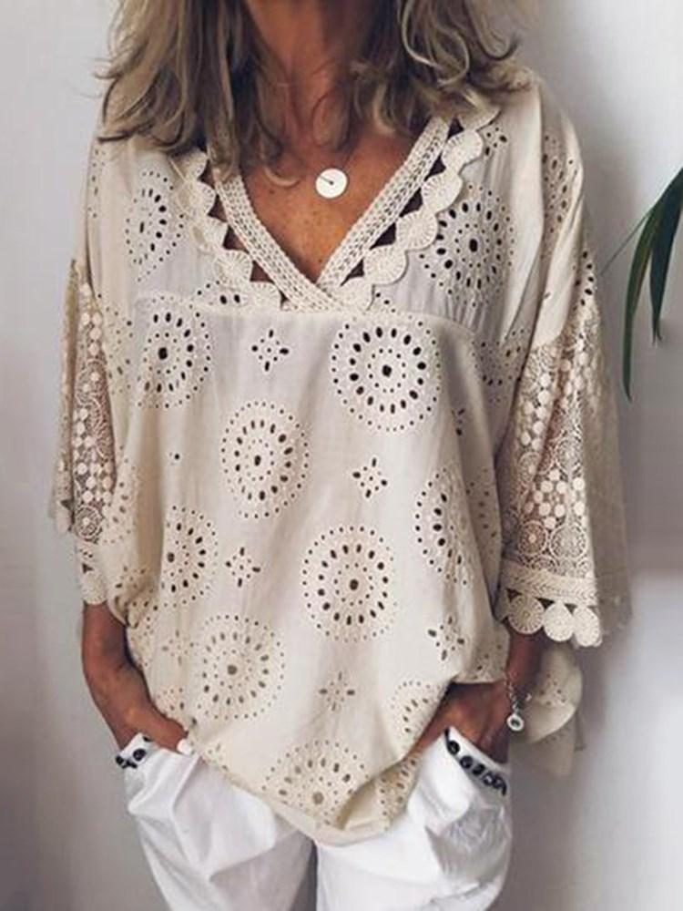 Geometric Hollow V-Neck Three-Quarter Sleeve Mid-Length Blouse