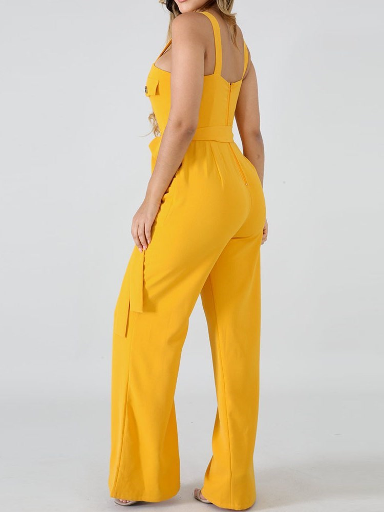 Button Fashion Plain Slim Wide Legs Jumpsuit