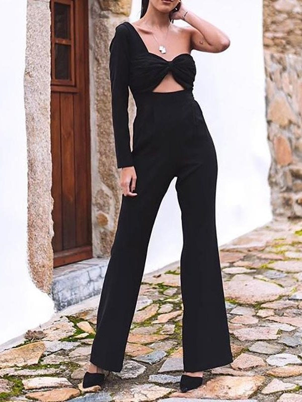 Western Hollow Full Length Straight Slim Jumpsuit