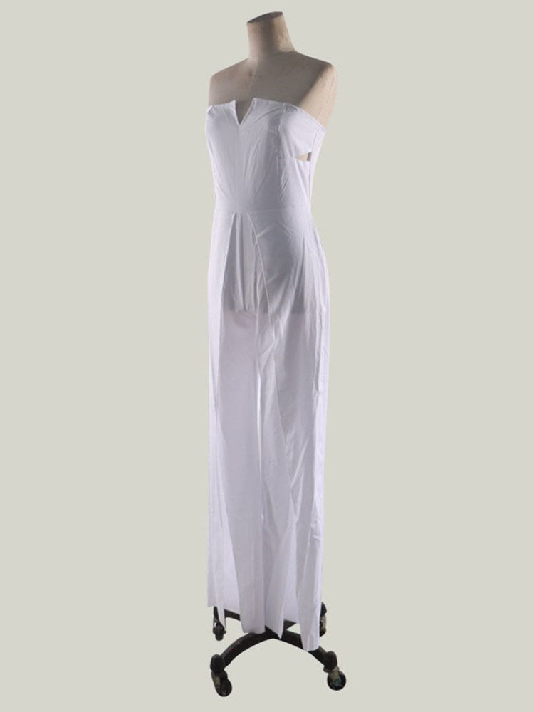 Split Fashion Plain Slim Mid Waist Jumpsuit