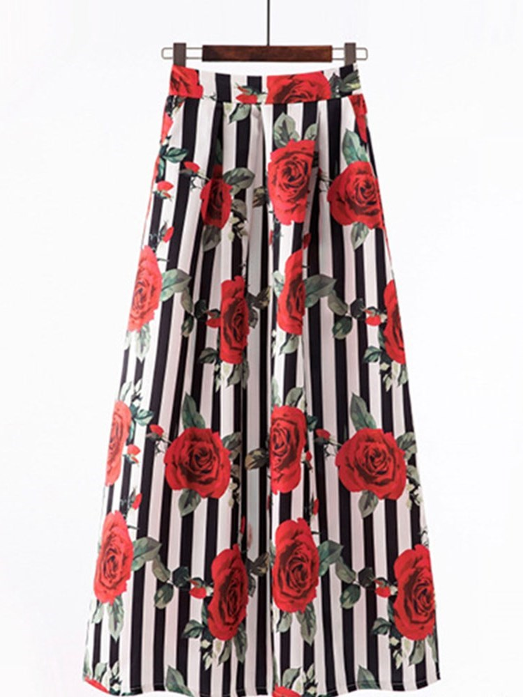 Stripe Print Ankle-Length Office Lady Skirt