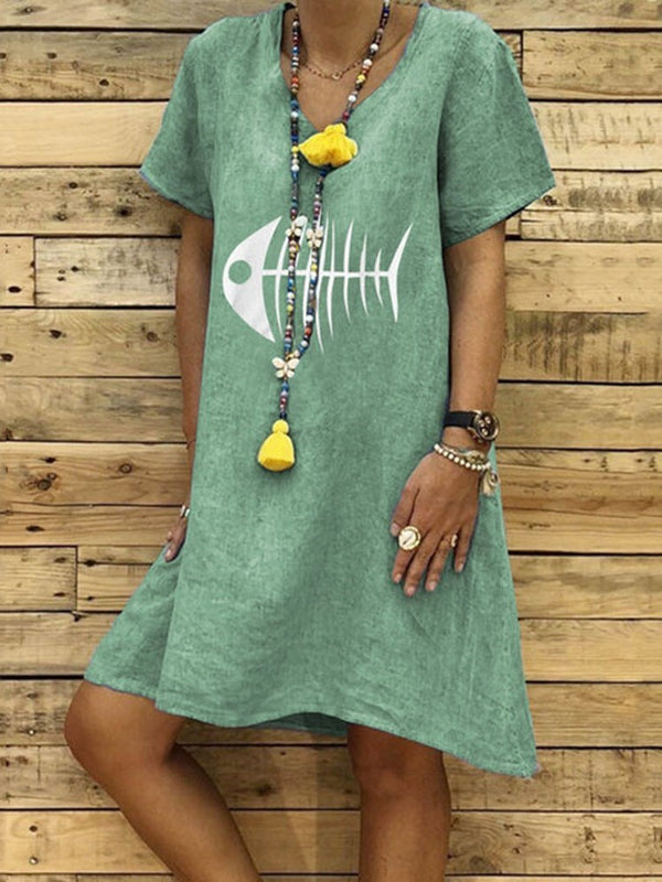 Short Sleeve Print Knee-Length Casual Pullover Dress