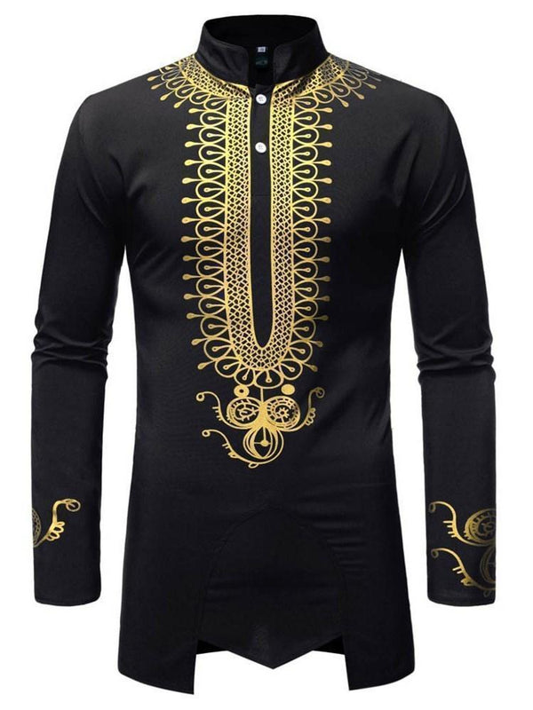 Print Stand Collar African Ethnic Style Fall Slim Shirt