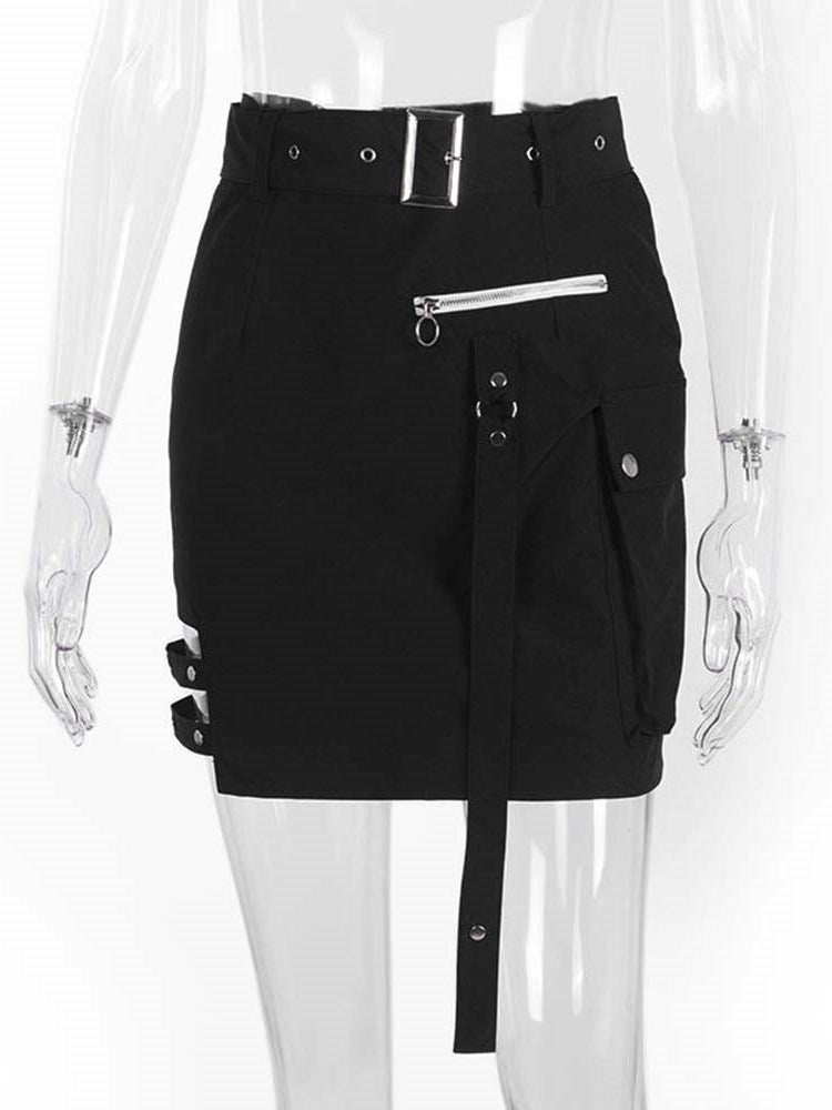 Plain Mini Skirt Pocket High Waist Western Skirt