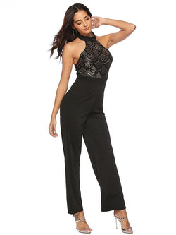 Patchwork Full Length Fashion Slim Straight Jumpsuits - Comfyfree