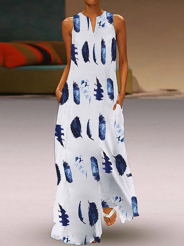 Print Floor-Length Sleeveless Pullover A-Line Dress