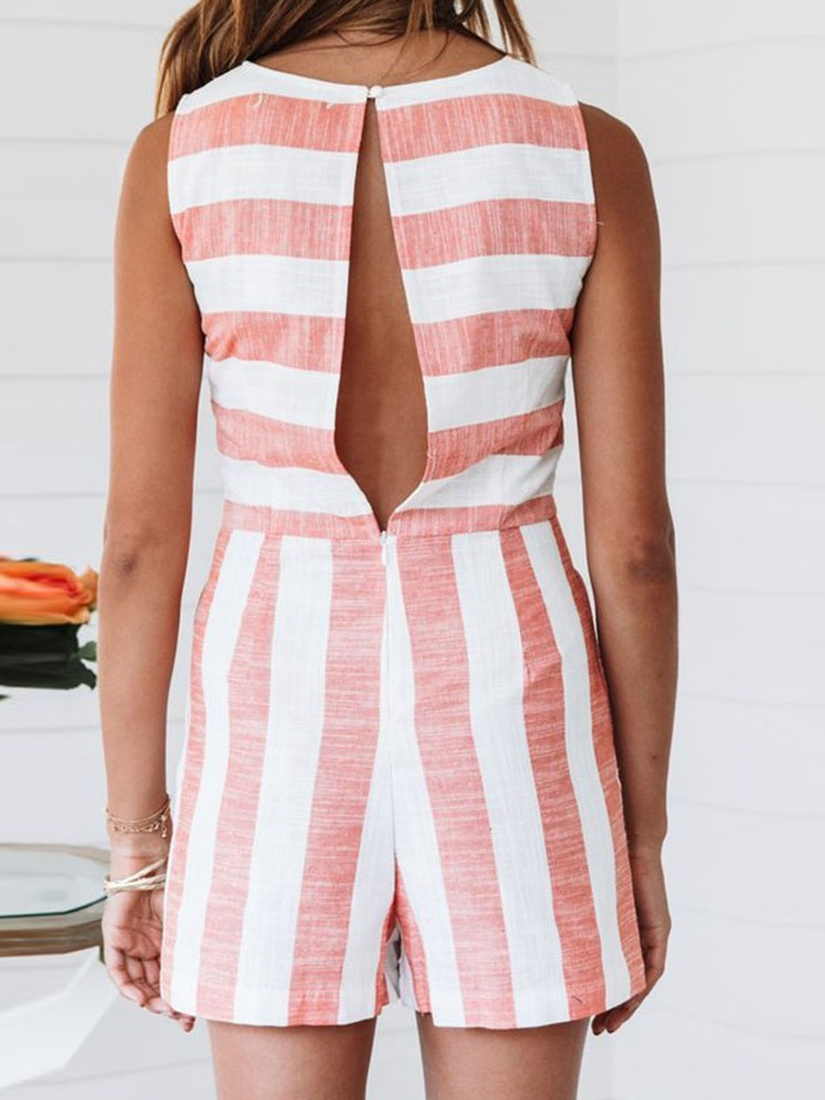 Casual Stripe Shorts Straight Slim Jumpsuit