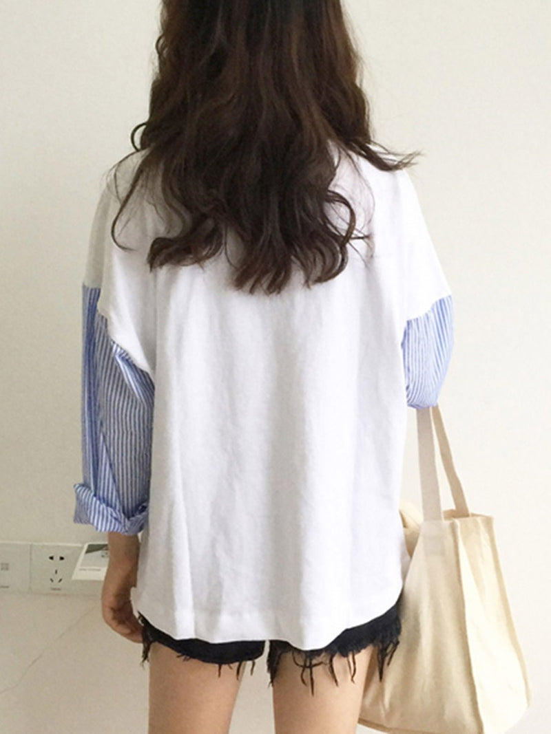 Stripe Mid-Length Round Neck Simple Fall T-Shirt