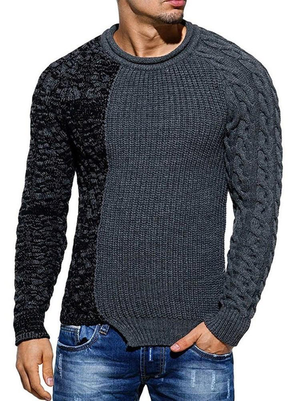 Color Block Standard Slim Fall Sweater