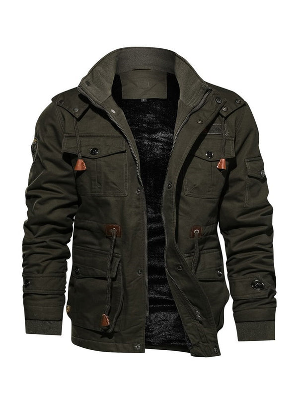 Plain Stand Collar Casual Winter Jacket