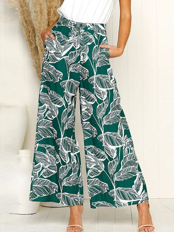 Loose Print Plant Wide Legs Full Length Casual Pants