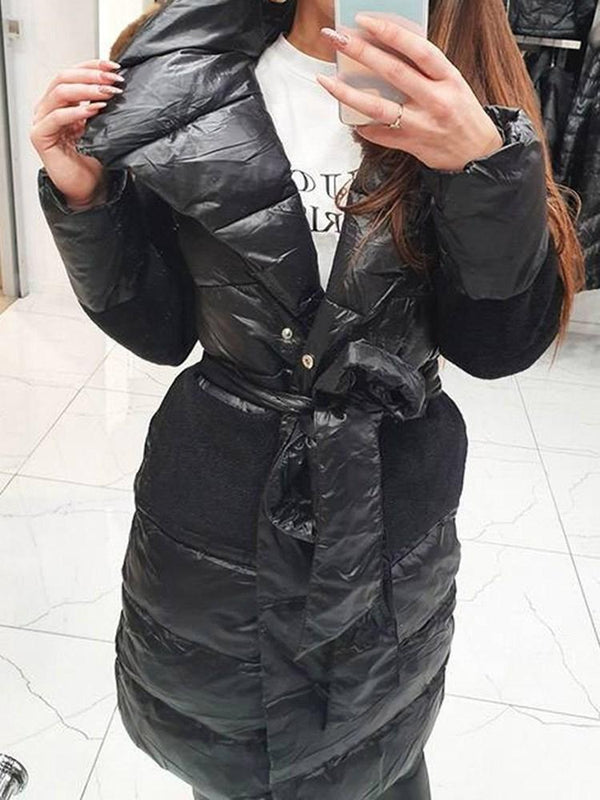 Loose Lace-Up Thick Long Cotton Padded Jacket