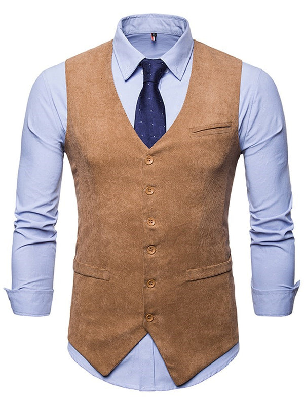 Pocket Plain Single-Breasted Spring Waistcoat