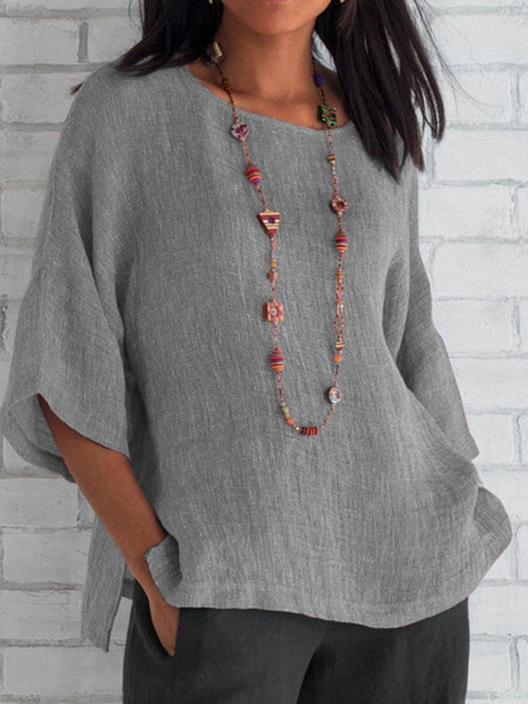 Plain Three-Quarter Sleeve Mid-Length Loose T-Shirt