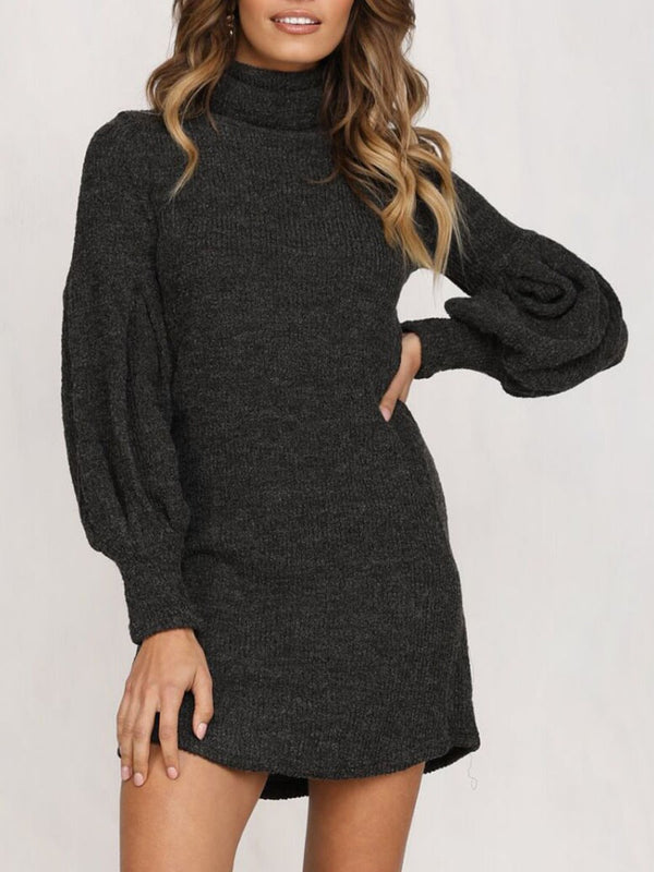 Turtleneck Long Sleeve Above Knee A-Line Fashion Dress