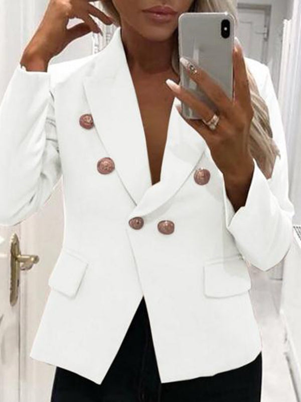 Long Sleeve Notched Lapel Double-Breasted Fashion Fall Blazer