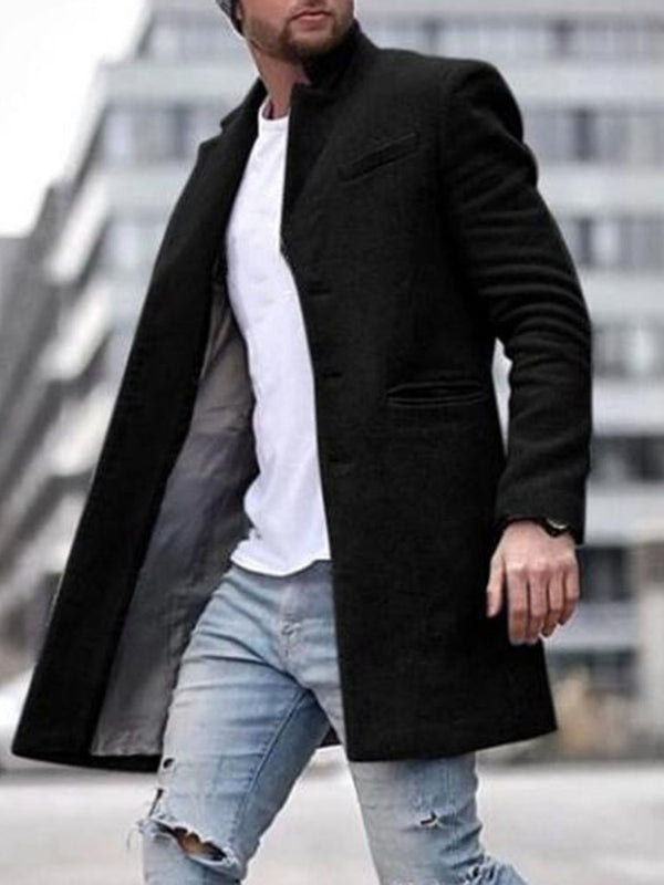 Mid-Length Button Lapel Straight Single-Breasted Coat