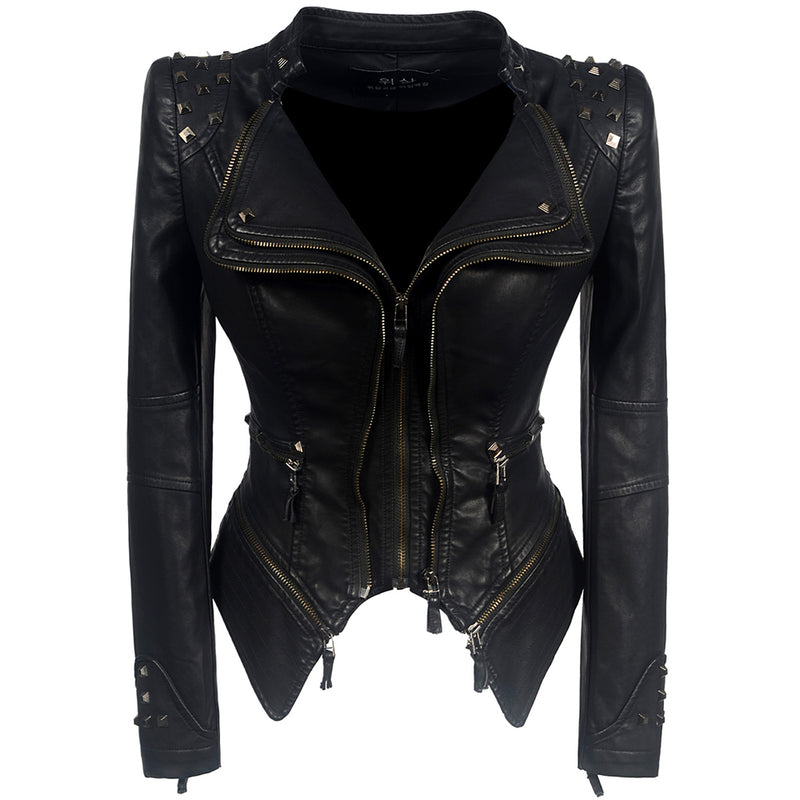 Short Slim Zipper Fall PU Jacket