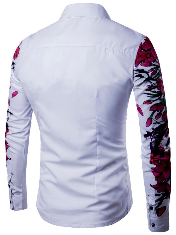 Floral Print Lapel Fall Single-Breasted Shirt
