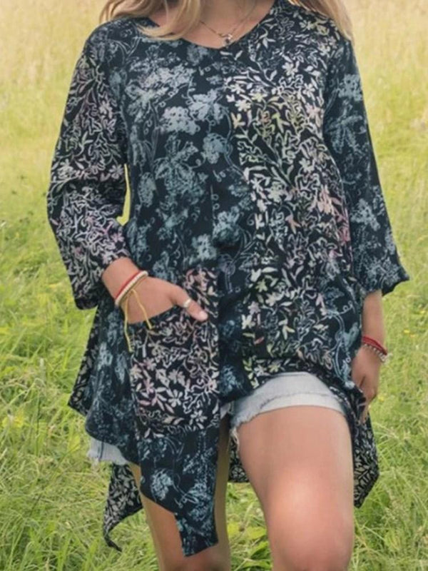 V-Neck Print Floral Three-Quarter Sleeve Mid-Length Blouse