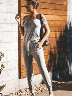 Ankle Length Casual Plain Mid Waist Slim Jumpsuit
