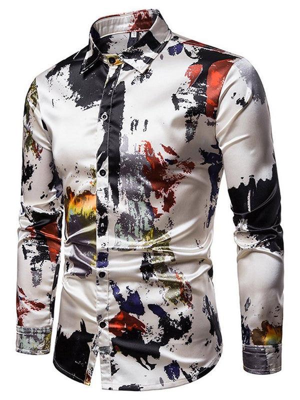 Casual Print Lapel Spring Single-Breasted Shirt
