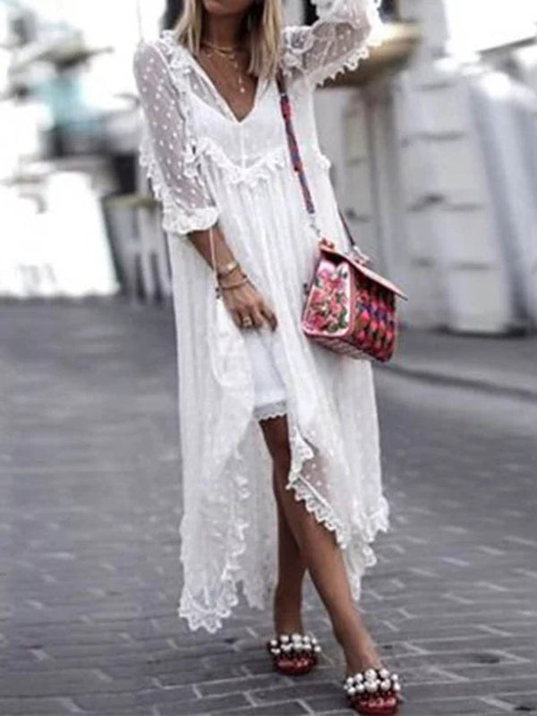V-Neck Lace Ankle-Length A-Line Plain Dress