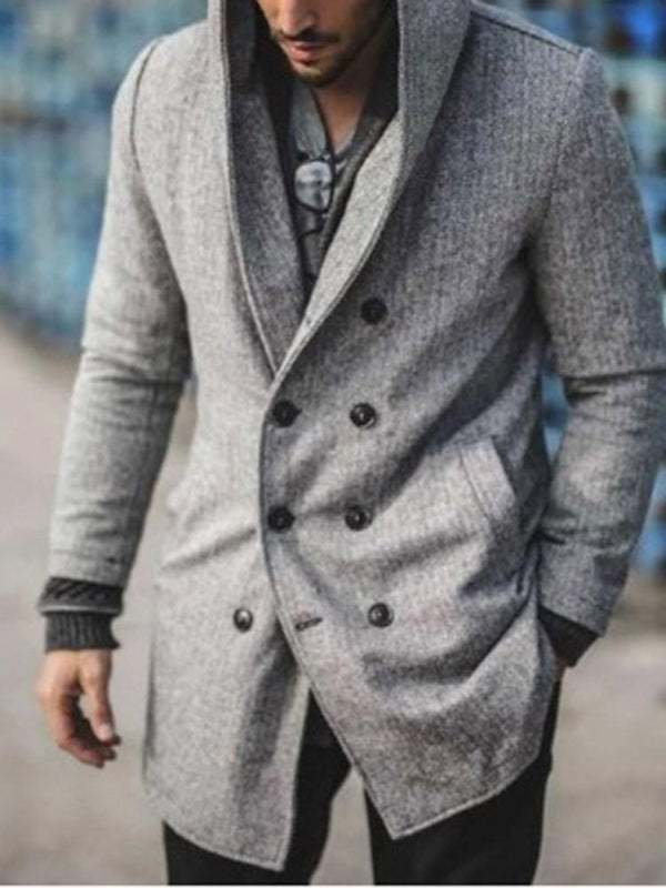 Mid-Length Plain Hooded Loose Fashion Trench Coat