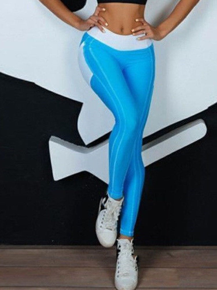 Color Block Patchwork Fashion High-Waist Leggings