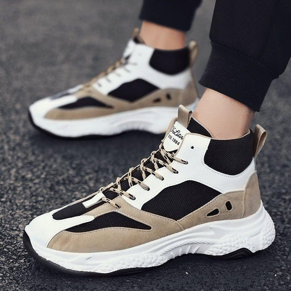 Sports Mid-Cut Upper Lace-Up Mesh Round Toe Sneakers