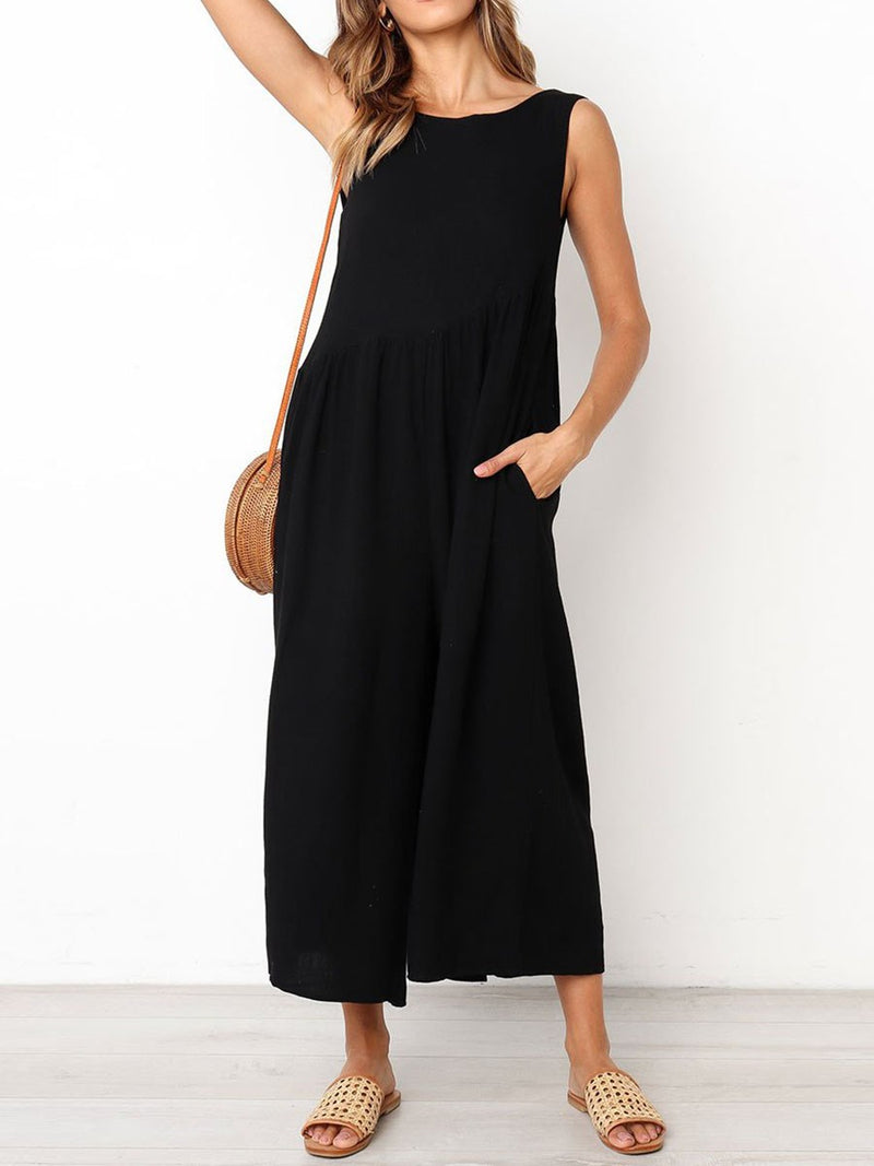 Casual Ankle Length Plain Loose Jumpsuit