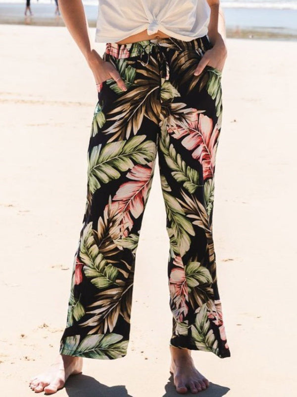 Loose Floral Print Ankle Length Wide Legs Casual Pants
