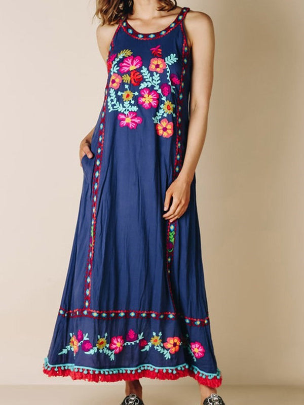 Ankle-Length Sleeveless Embroidery Spaghetti Strap A-Line Dress