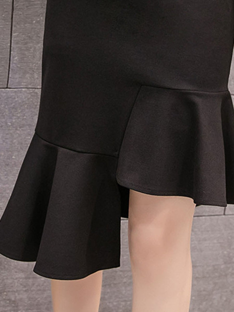 Mid-Calf Asymmetric Plain High Waist Office Lady Skirt