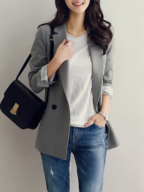 Notched Lapel Long Sleeve Plain Mid-Length Spring Casual Blazer
