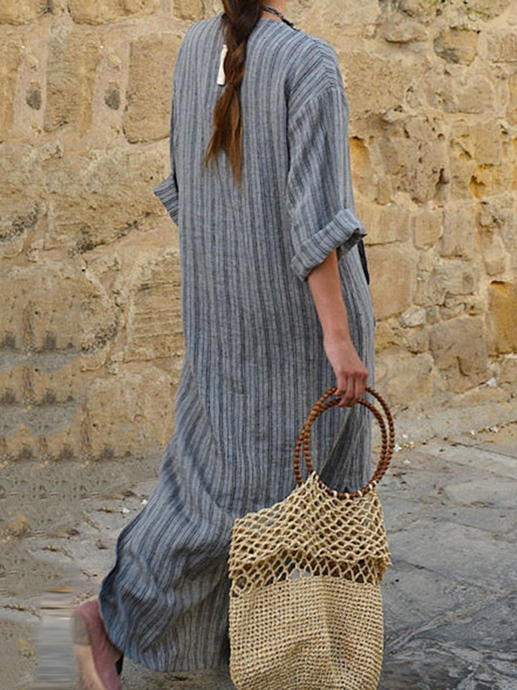 Patchwork Nine Points Sleeve V-Neck Stripe Casual Dress