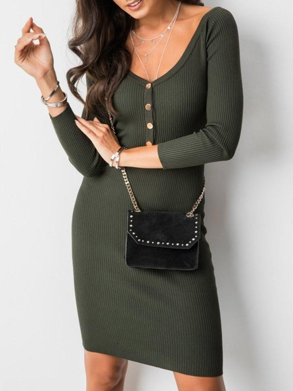 Above Knee Nine Points Sleeve Bodycon Western Dress
