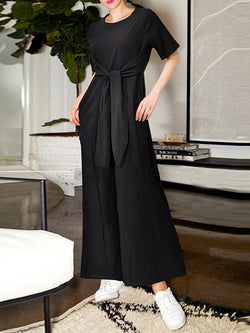 Plain Full Length Loose Wide Legs Jumpsuit