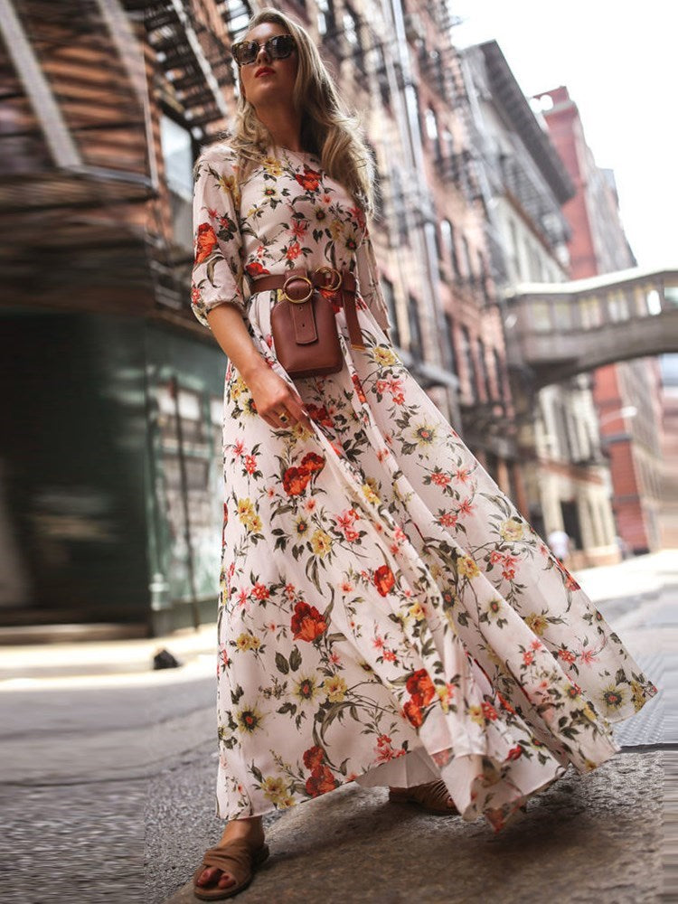 Half Sleeve Print Floor-Length Spring Expansion Maxi Summer Dresses