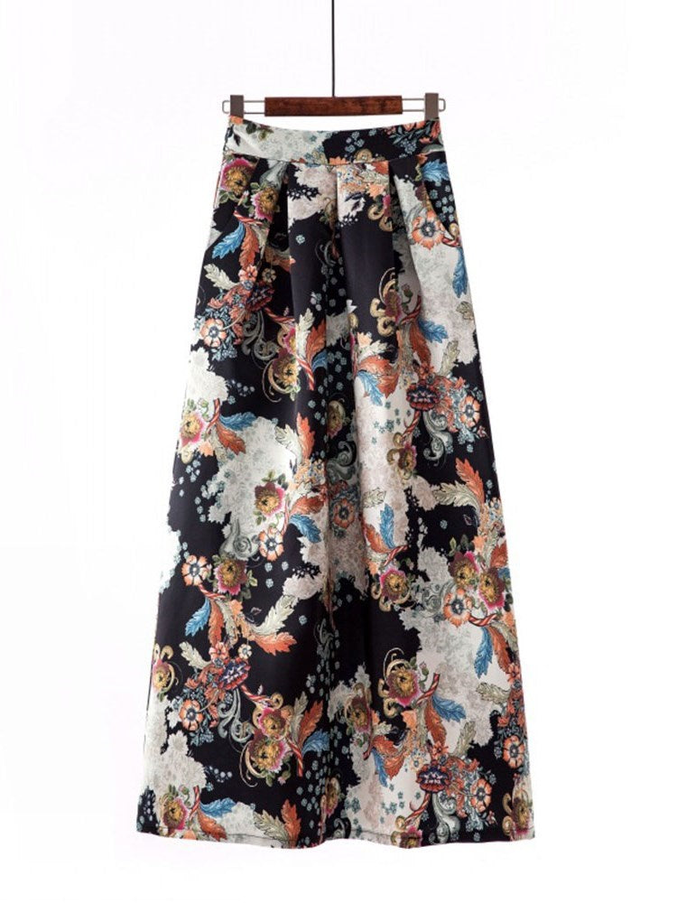 Floral Print Ankle-Length Casual Skirt