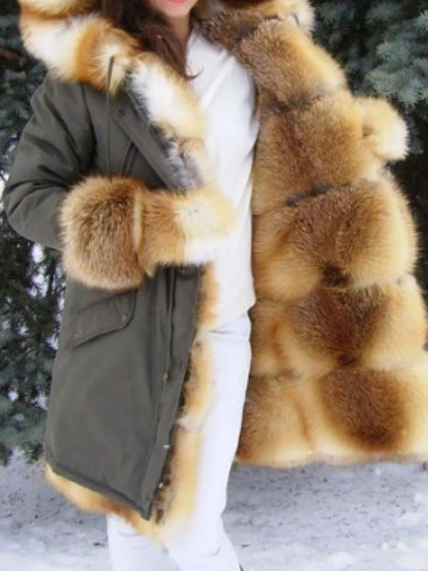 Hooded Regular Mid-Length Loose Thick Faux Fur Overcoat
