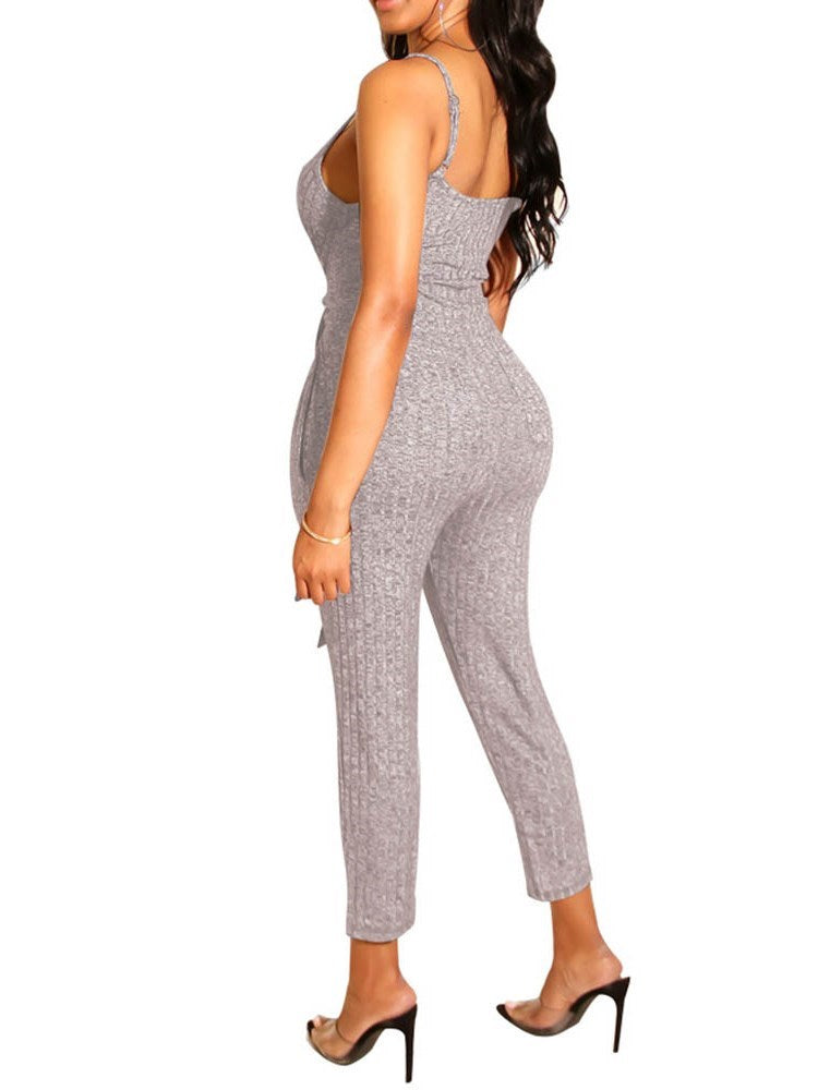 Lace-Up Ankle Length Plain Skinny Straight Jumpsuit