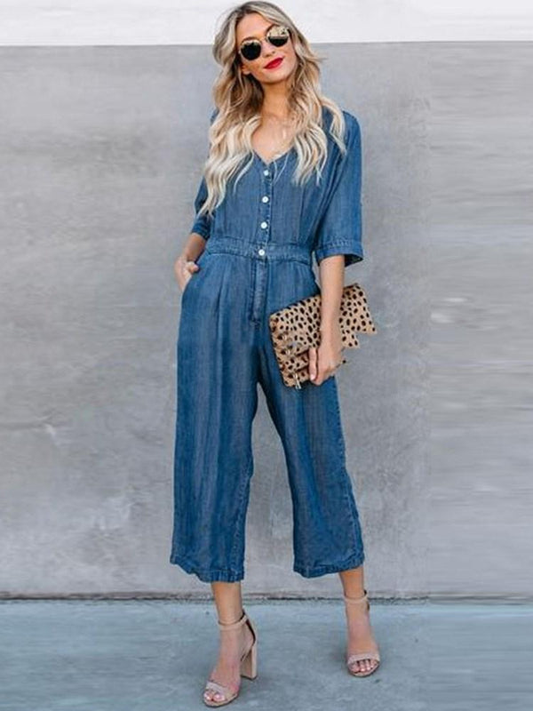 Ankle Length Plain Button Wide Legs High Waist Jumpsuit