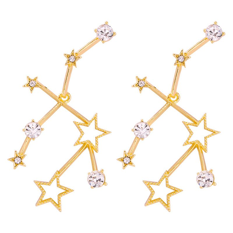 Alloy Diamante Star Wedding Earrings