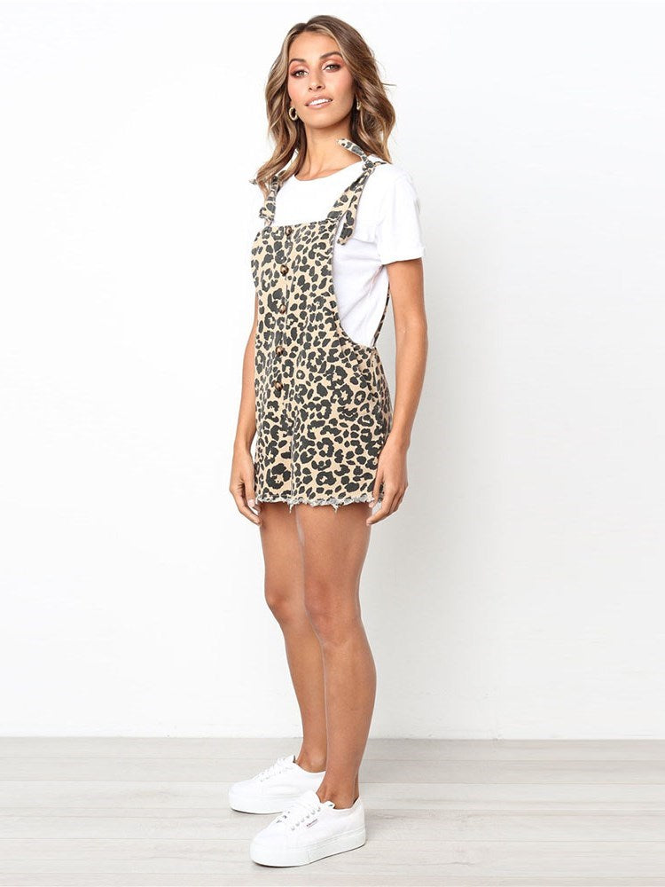Lace-Up Casual Leopard Slim Straight Jumpsuit